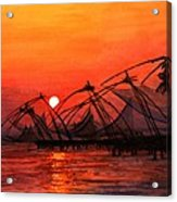 Fisherman Sunset In Kerala-india Acrylic Print