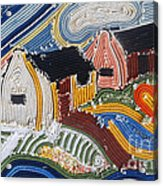 Fishermans Cottages String Collage Acrylic Print