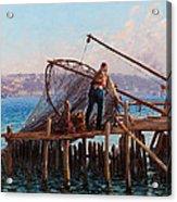 Fishermen Bringing In The Catch Acrylic Print