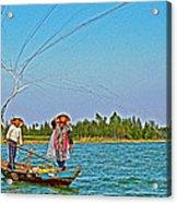 Fishermen Casting A Broad Net On Thu Bon River In Hoi An-vietnam Acrylic Print