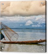 Fishermen In The Inle Lake. Myanmar Acrylic Print