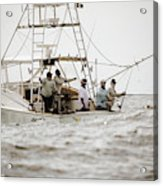 Fishermen Reel In Line From The Back Acrylic Print