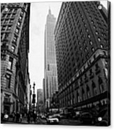 fisheye shot View of the empire state building from West 34th Street and Broadway junction Acrylic Print