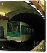 Fisheye View Of Paris Subway Train Acrylic Print