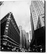 Fisheye View Of The Herald Square Building And Cross Walks Over Broadway New York Acrylic Print