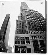fisheye view of the Nelson Tower and 1 penn plaza in the background from junction of 34th street and Acrylic Print