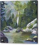 Fishing At The Falls Acrylic Print