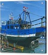 Fishing Boart Repairs Essaouira Morocco Acrylic Print by Richard Harpum