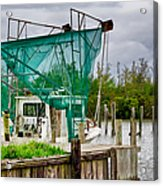 Fishing Boat And Pelicans On Posts Acrylic Print