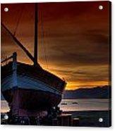 Fishing Boat At Sunset Acrylic Print