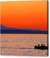 Fishermen At Sunset Puget Sound Washington Acrylic Print