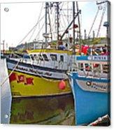 Fishing Boat Reflection In Branch-newfoundland-canada Acrylic Print