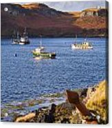 Fishing Boats At Anchor In A Quiet Bay On The Isle Of Skye In Sc Acrylic Print