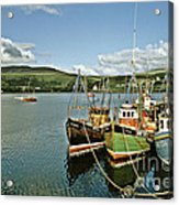 Fishing Boats At Uig Skye Scotland 1994 Acrylic Print by David Davies