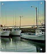 Fishing Boats In A Harbor Towards Evening On Prince Edward Island Acrylic Print