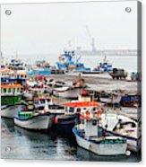 Fishing Boats Moored At A Harbor, Ponta Acrylic Print