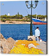 Fishing In Spetses Town Acrylic Print