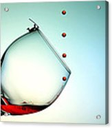 Fishing On A Glass Cup With Red Wine Droplets Little People On Food Acrylic Print by Paul Ge