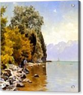 Fishing On Lac Leman Acrylic Print