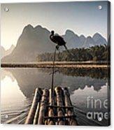 Fishing On Li River Acrylic Print