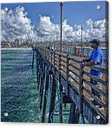 Fishing On Oceanside Pier Acrylic Print