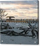 Fishing Pier And Driftwood Acrylic Print