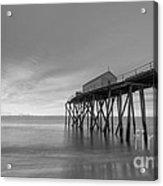 Fishing Pier Sunrise Bw 16x9 Acrylic Print