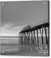 Fishing Pier Sunrise Bw Acrylic Print