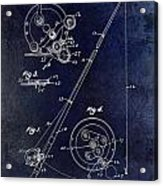 Fishing Reel Patent 1939 Blue Acrylic Print