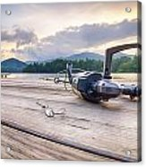 Fishing Tackle On A Wooden Float With Mountain Background In Nc Acrylic Print