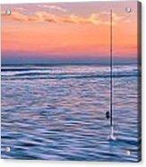 Fishing The Sunset Surf - Horizontal Version Acrylic Print