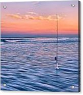 Fishing The Sunset Surf - Vertical Version Acrylic Print