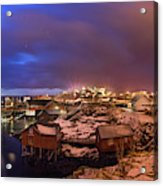 Fishing Village At Night, Lofoten Acrylic Print