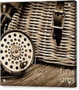 Fishing - Vintage Fly Fishing - Black And White Acrylic Print by Paul Ward