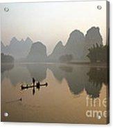 Fishing With Cormorant On Li River Acrylic Print