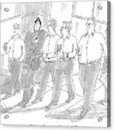 Five Guys Walking. One Is Wearing A Winter Coat Acrylic Print