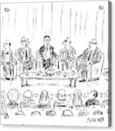 Five Men Sit On A Stage In Front Of An Audience Acrylic Print