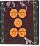 Five Of Pentacles Acrylic Print