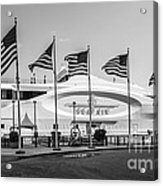 Five Us Flags Flying Proudly In Front Of The Megayacht Seafair - Miami - Florida - Black And White Acrylic Print by Ian Monk