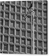 Flag And Windows In Black And White Acrylic Print