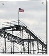 Flag Mounted On Seaside Heights Roller Coaster Acrylic Print