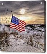 Flag On The Beach Acrylic Print by Michael Thomas