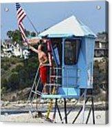 Flag Waving Lifeguard Acrylic Print