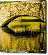 flagstone walking bridge at Freedom Park in Charlotte North Car Acrylic Print