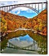 Flaming Fall Foliage At New River Gorge Acrylic Print