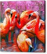 Flaming Flamingos Acrylic Print