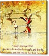 Flamingo In Yellow Acrylic Print