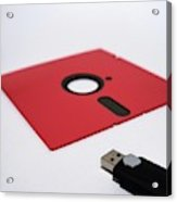 Flash Drive And Floppy Disk Acrylic Print