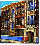 Flashback To Sixties Montreal Memories Baron Byng High School Vintage Landmark St. Urbain City Scene Acrylic Print by Carole Spandau
