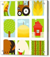Flat Childish Rectangular Agriculture Acrylic Print